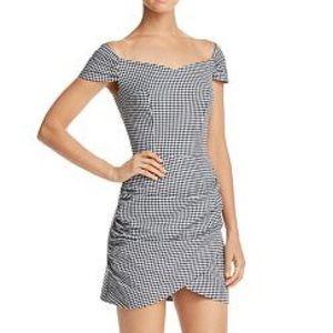 AQUA Gingham Off The Shoulder Mini Dress
